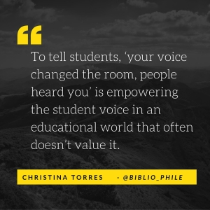 """As someone who grew up reading and writing, no one ever asked about my stories,"" she said. Her lesson plan now is about ""letting students know that their stories are valid and academic. To tell them, 'your voice changed the room, p"